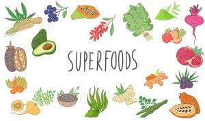 Illustrations set of superfoods. Different vegetabeles, seeds, fruits and berries.